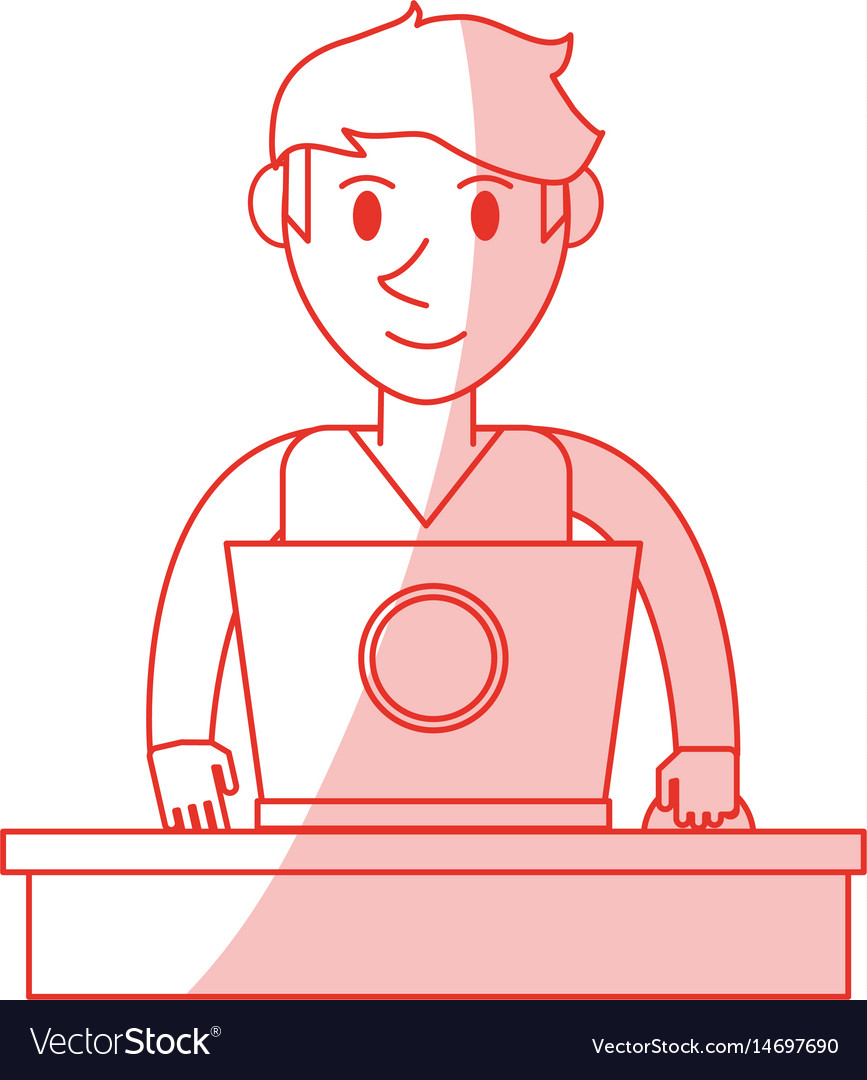 Red shading silhouette front view half body guy vector image