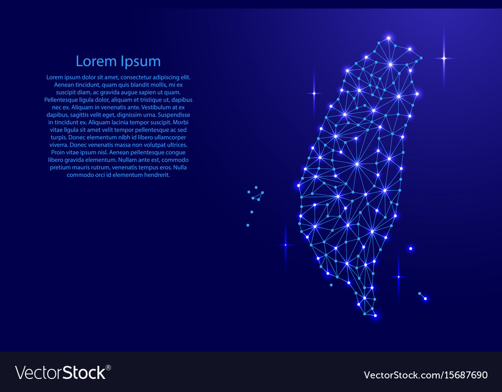 Taiwan map of polygonal mosaic lines network rays vector image