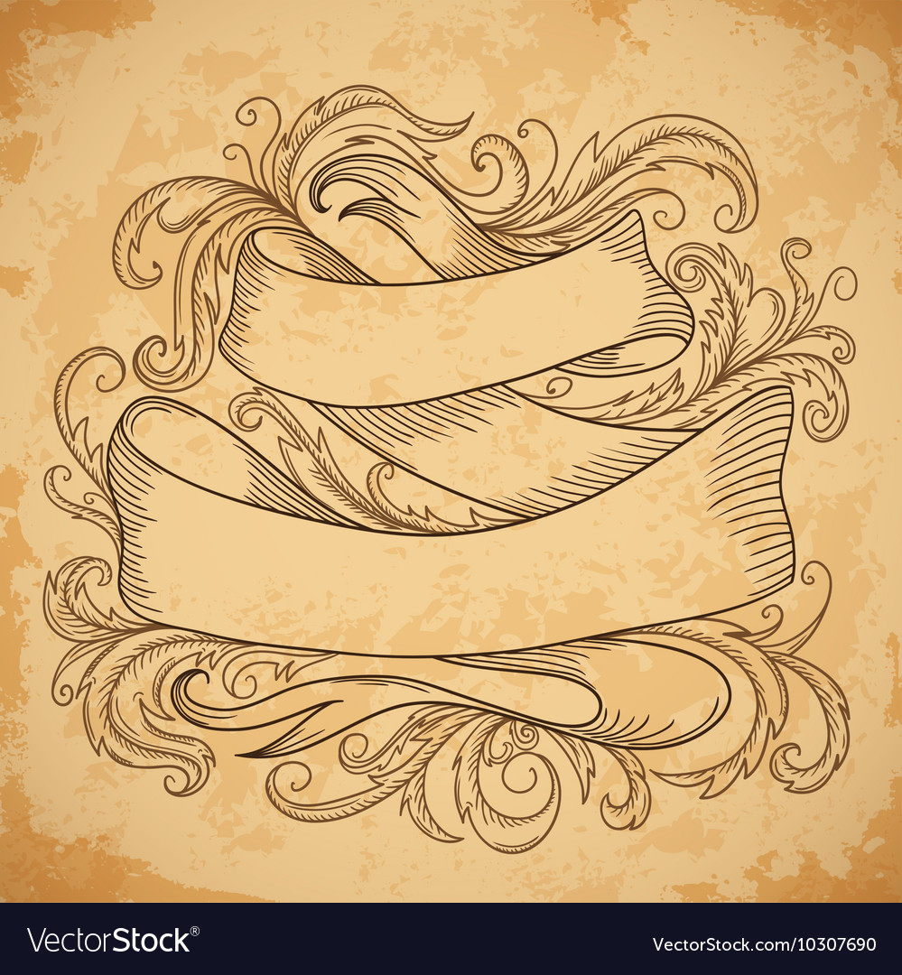 Vintage ribbon with decorative elements vector image