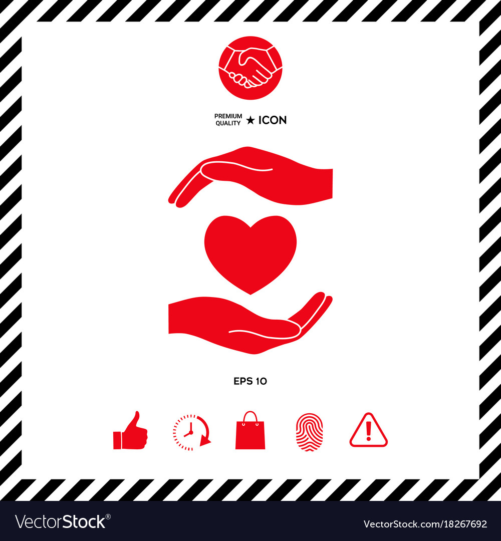 Hands holding heart vector image