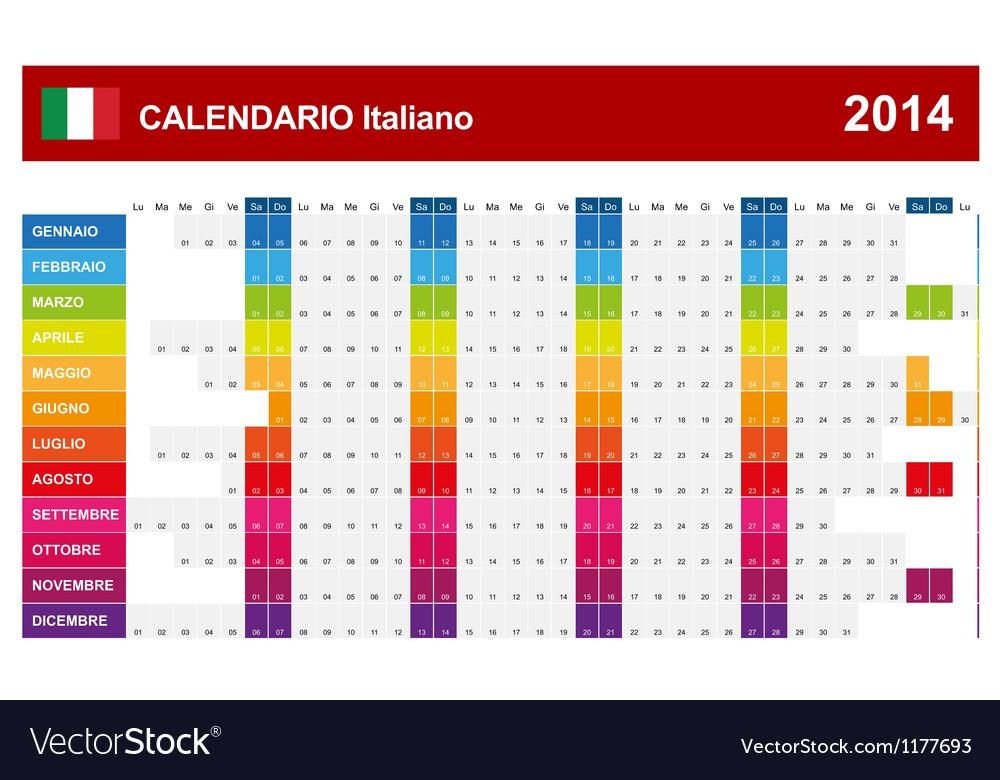 Calendar 2014 Italy Type 14 vector image