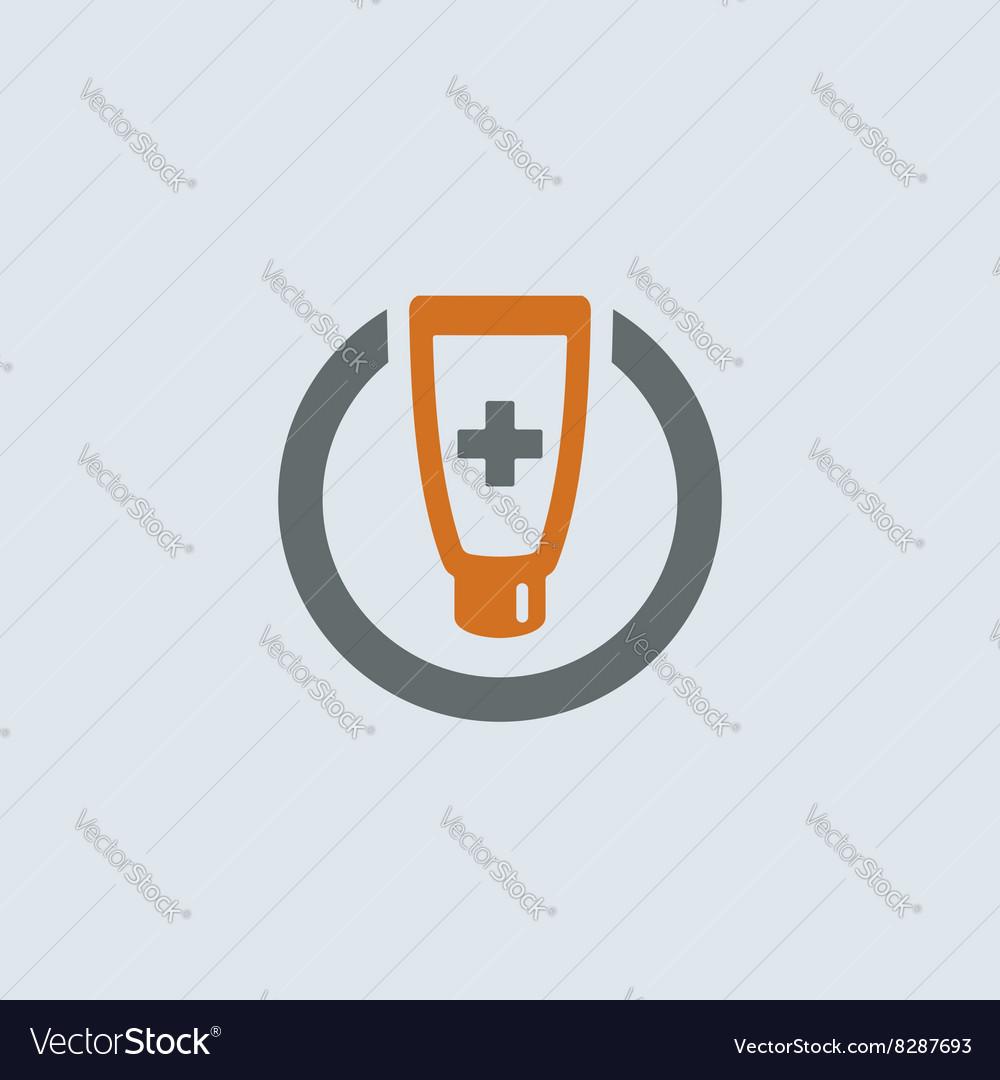 Gray-orange Ointment Round Icon vector image