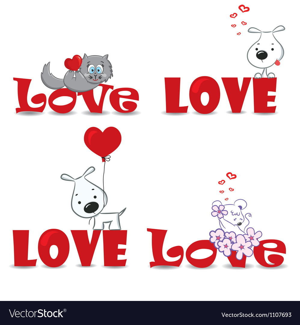Set of animals Valentine day vector image