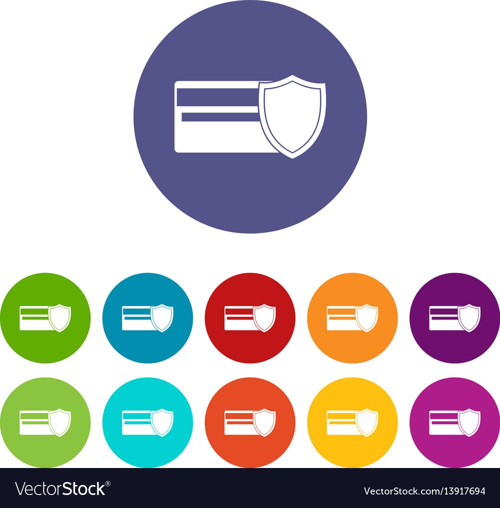 Credit card and shield set icons vector image