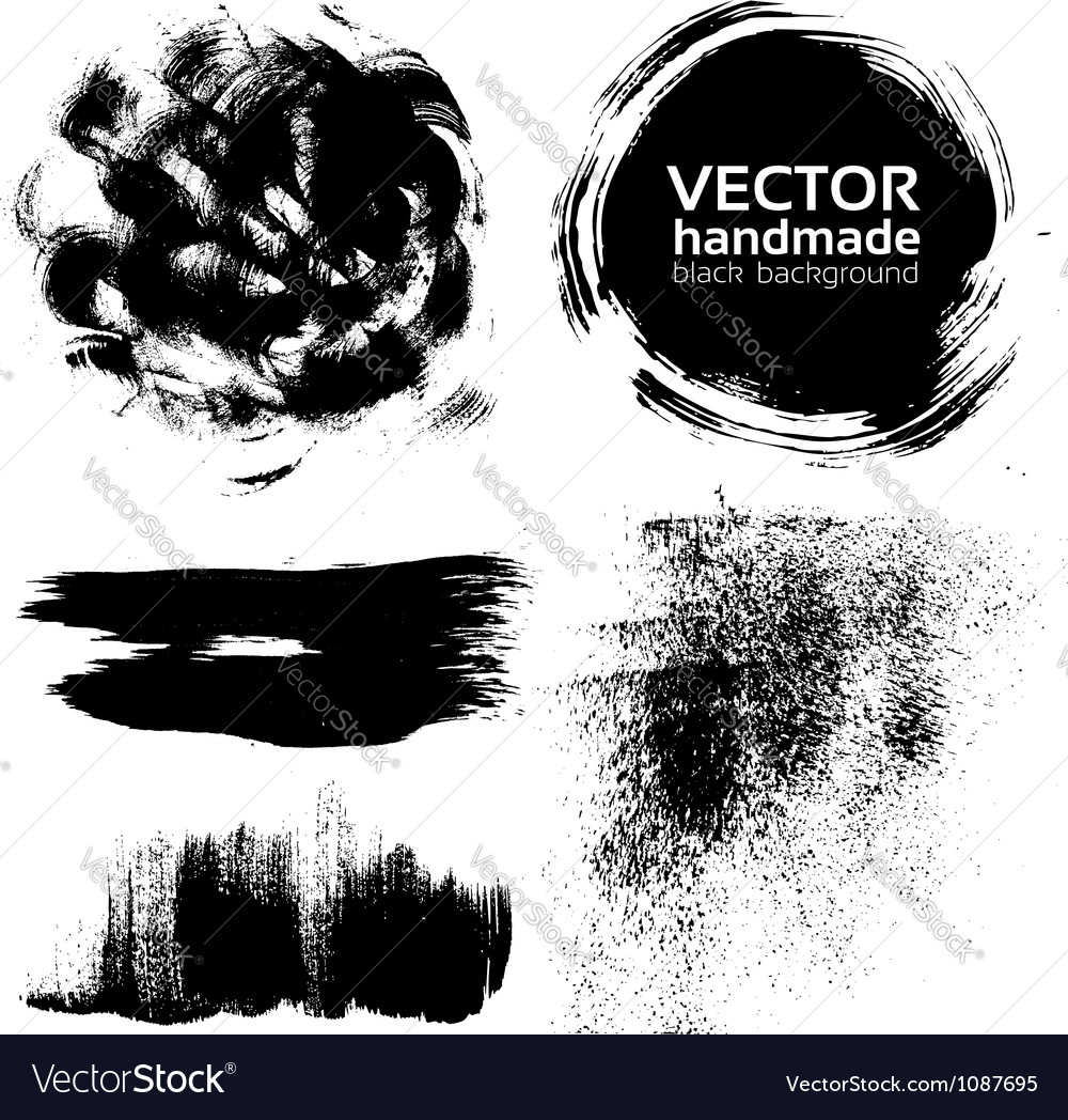 Handmade brush strokes set painted by ink vector image