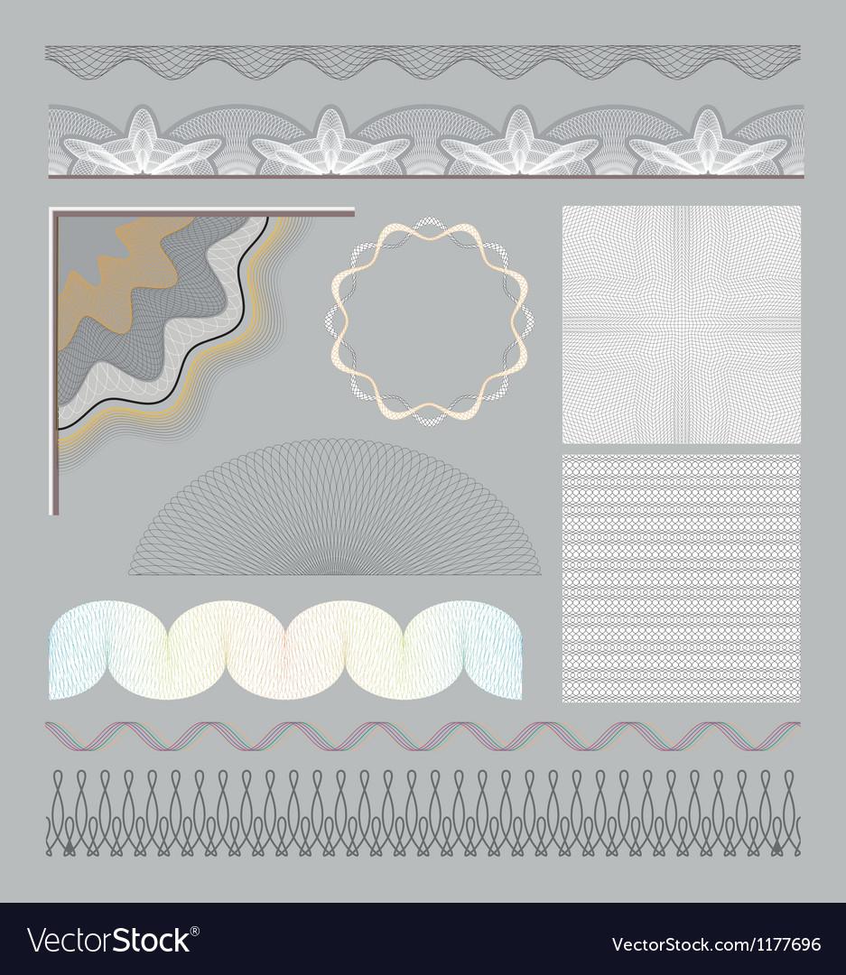 Set of guilloche elements vector image