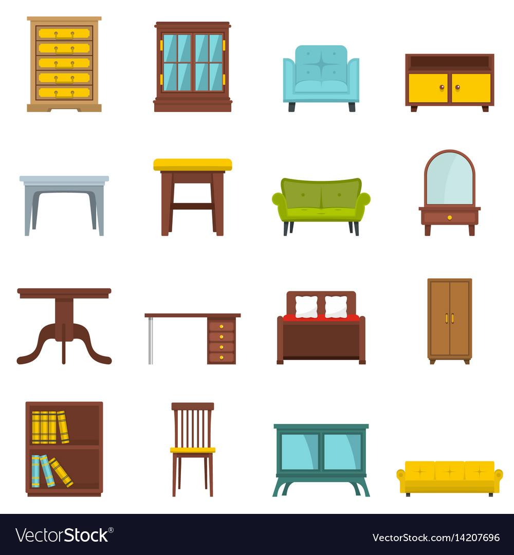 Cartoon Furniture: Set Flat Cartoon Office And House Furniture Vector Image