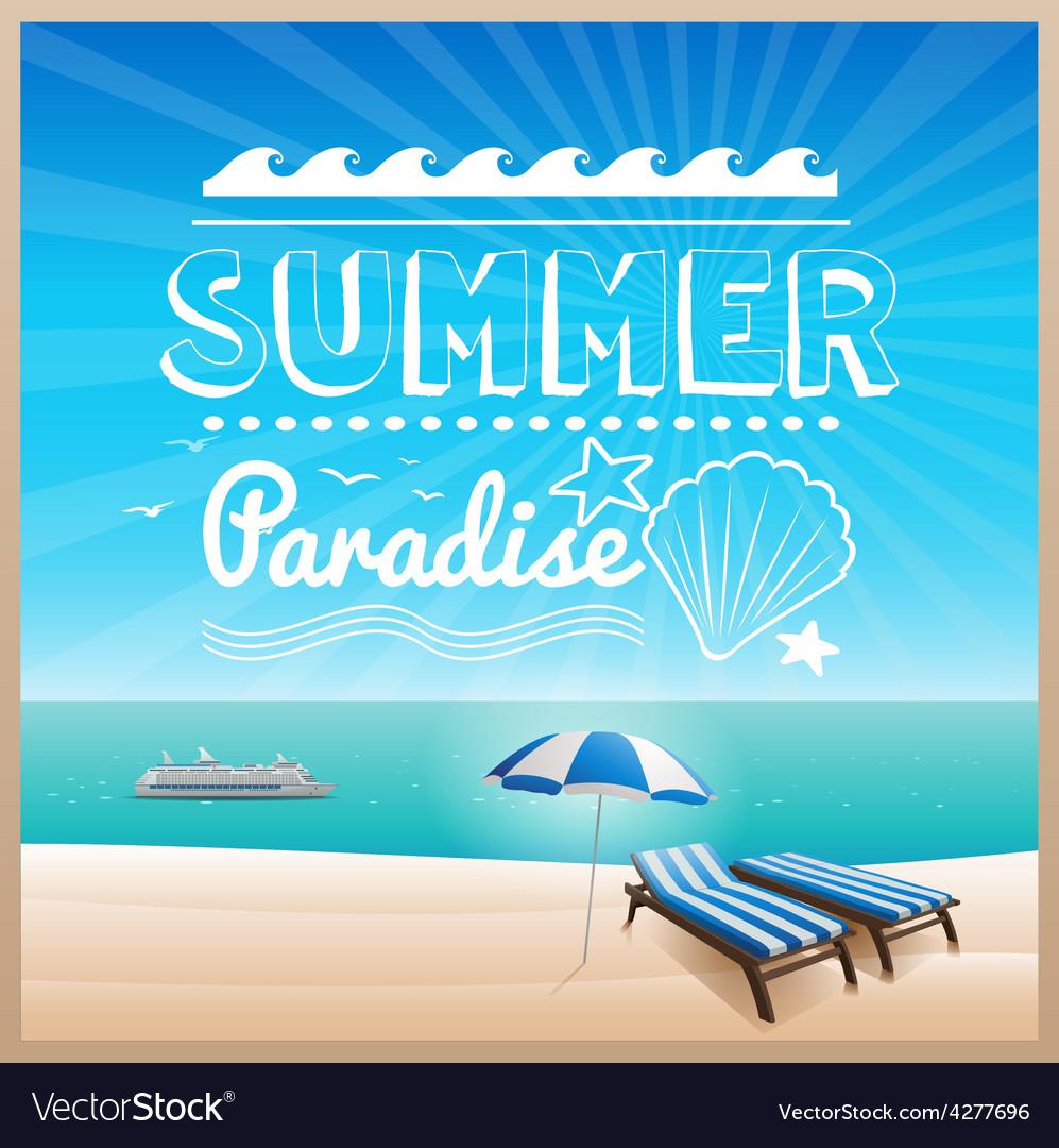 Summer beach typography design background vector image