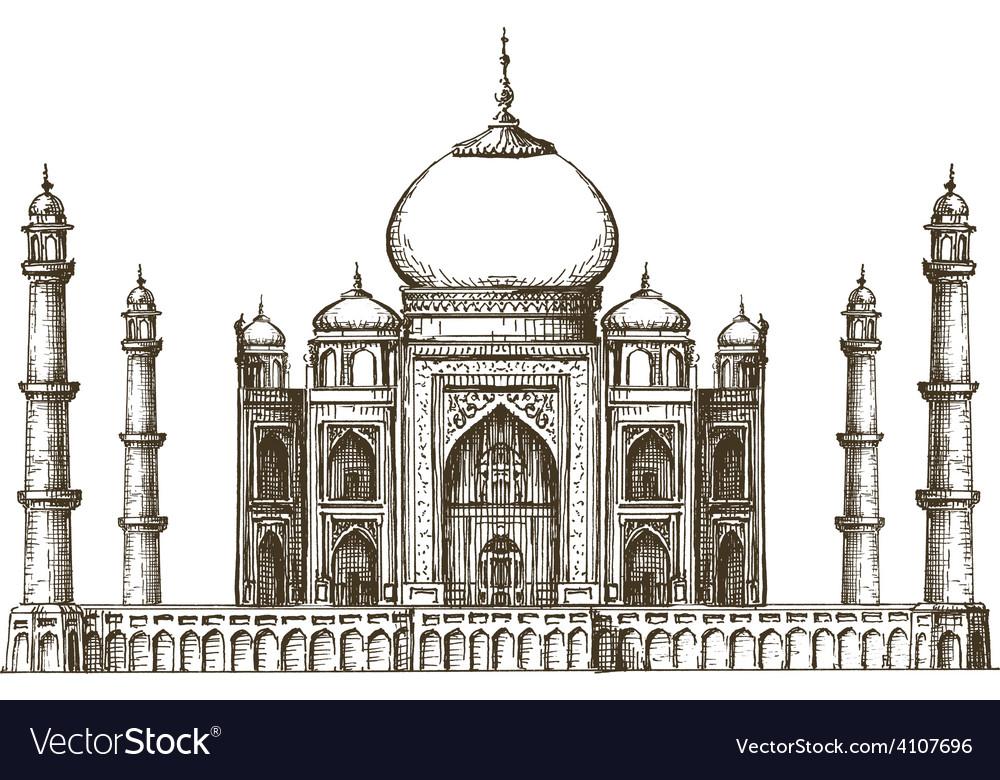 Taj Mahal logo design template India or vector image