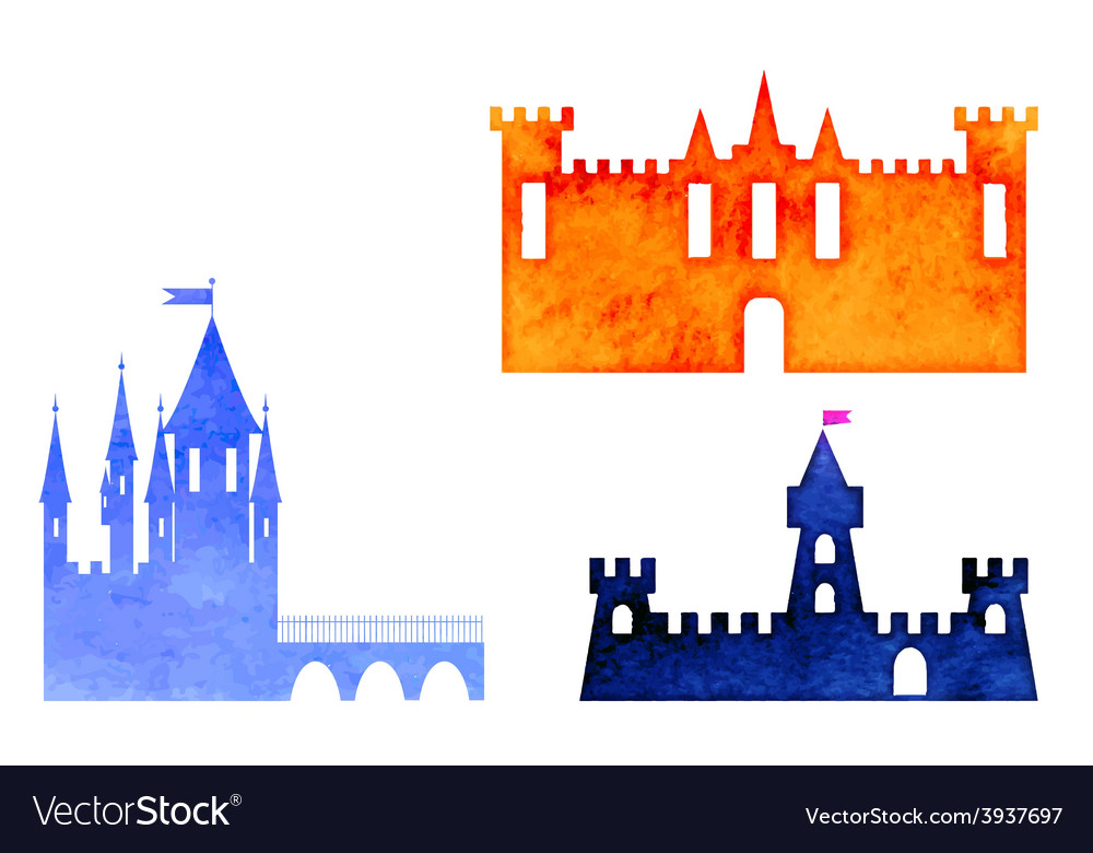 Set of watercolor castle vector image