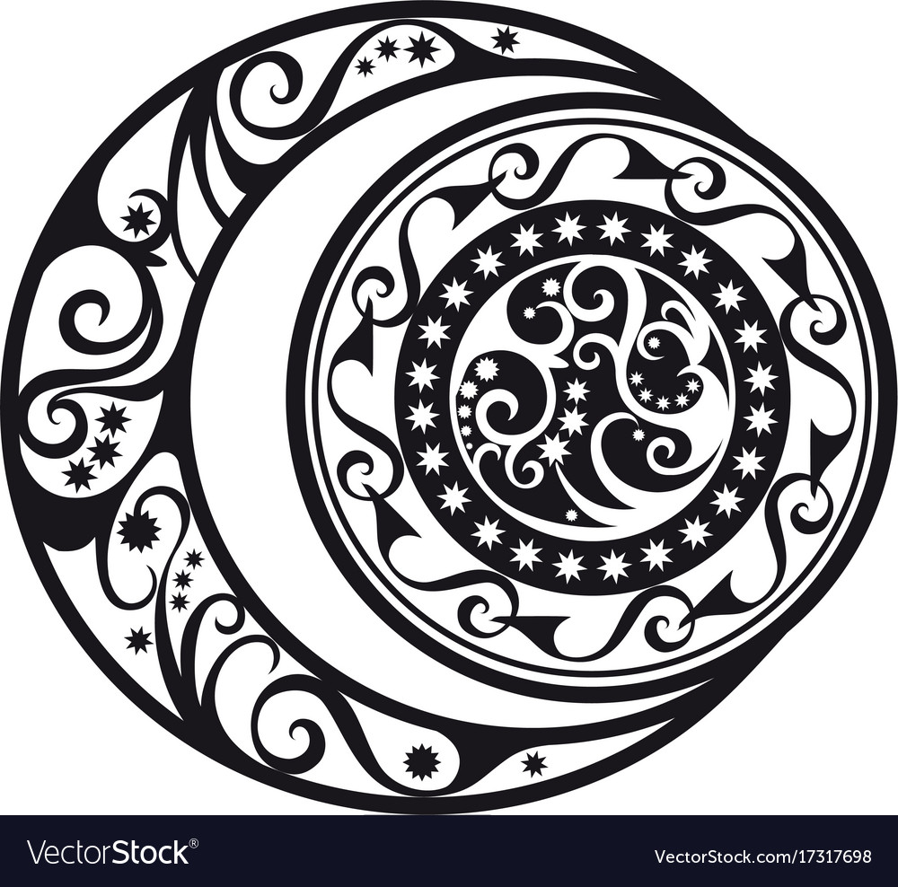 Abstract pattern crescent moon and sun symbol vector image biocorpaavc Gallery
