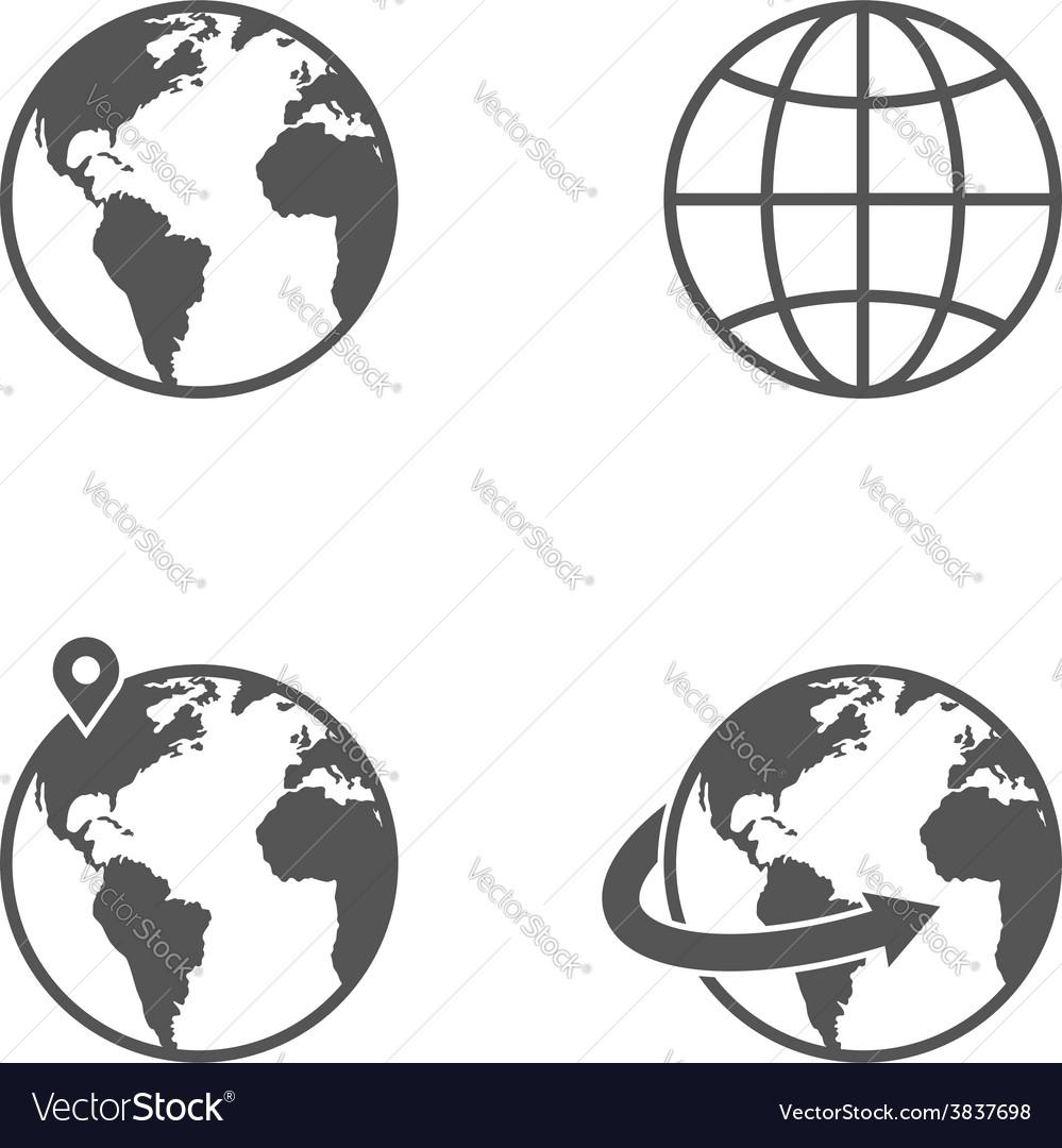 Globe earth icons set isolated on white background vector image