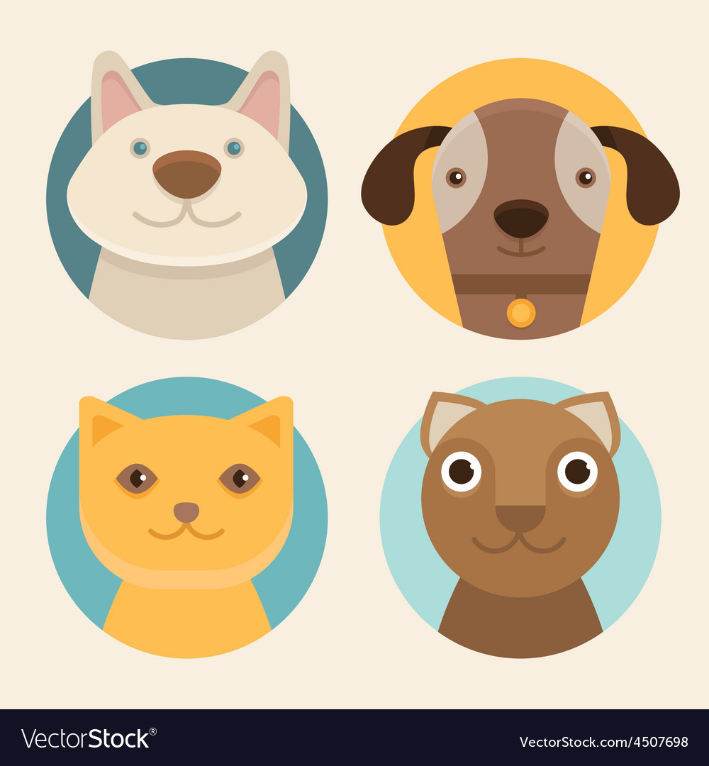 Round badges with cats and dogs vector image