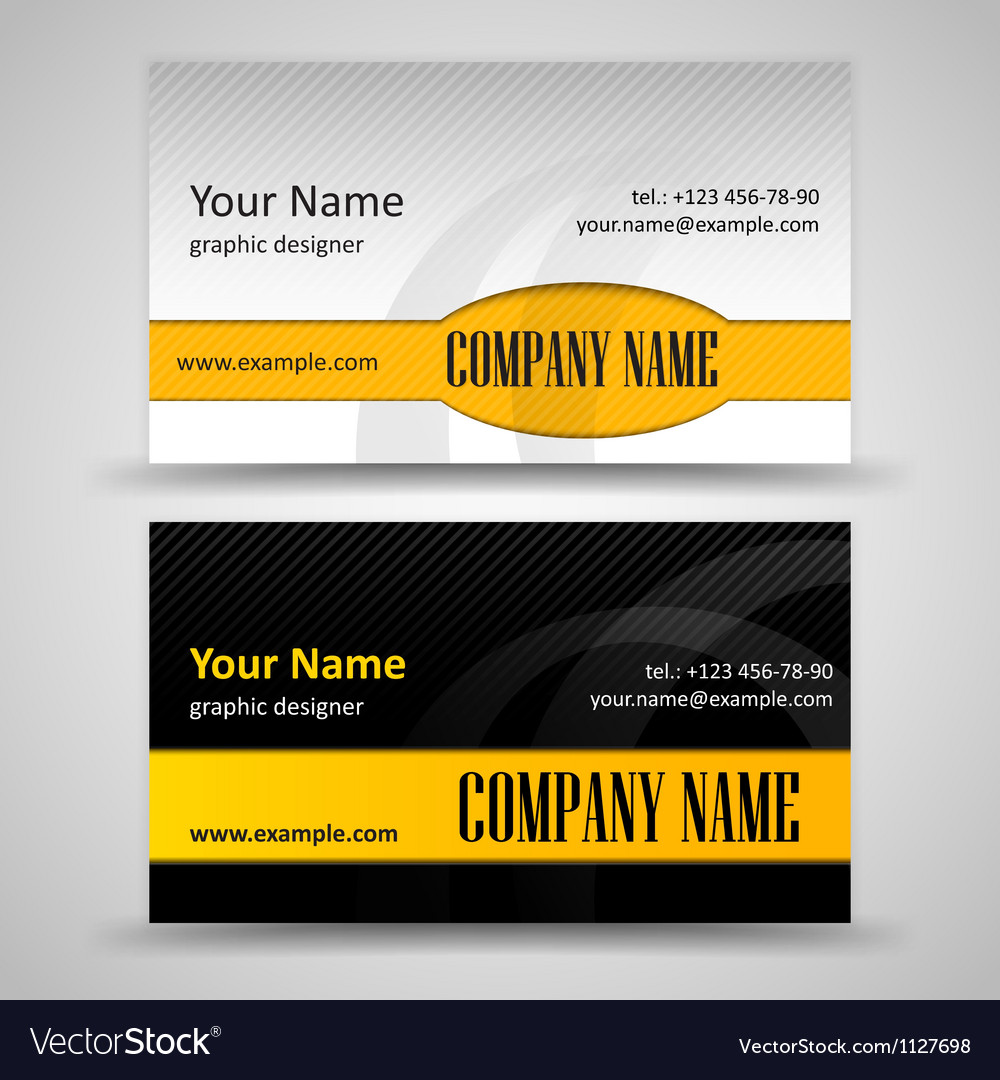 Set of black and orange business cards vector image