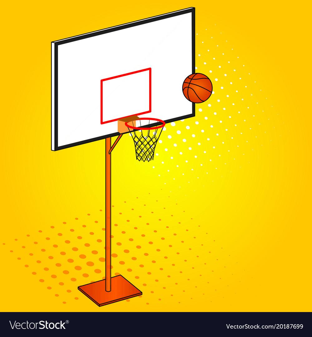 Basketball hoop and ball object pop art vector image