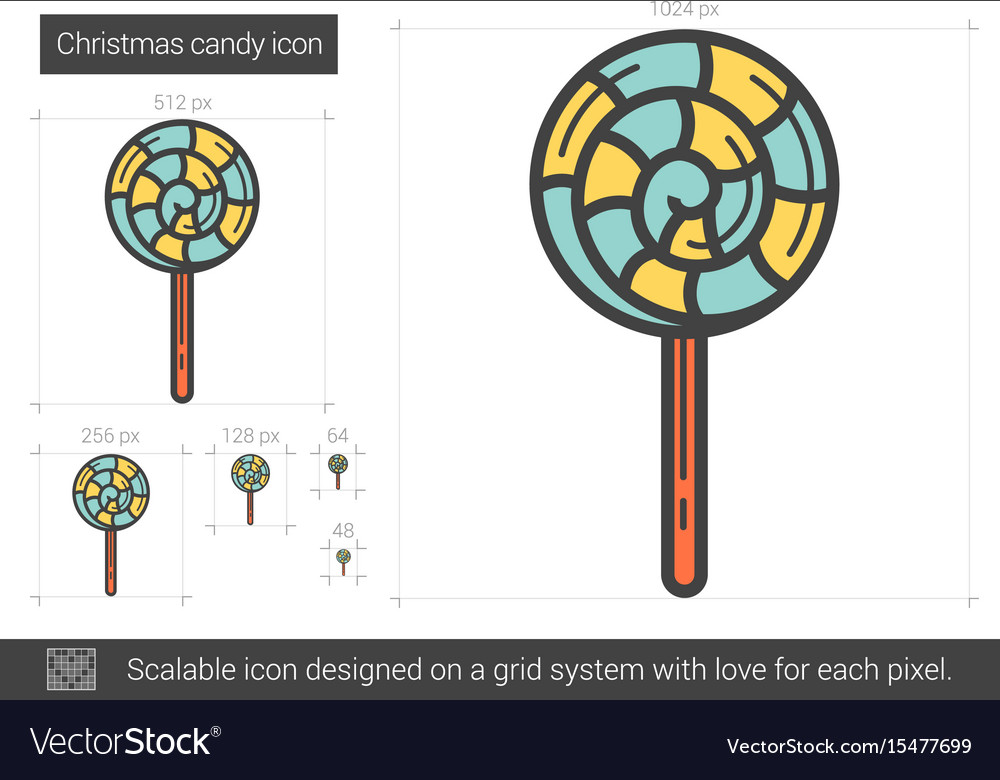 Christmas candy line icon vector image