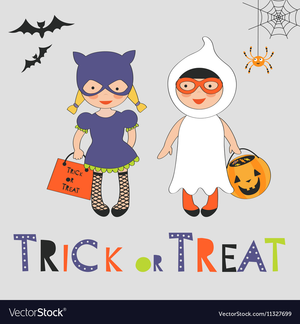 Trick or treat Halloween card with two kids in vector image
