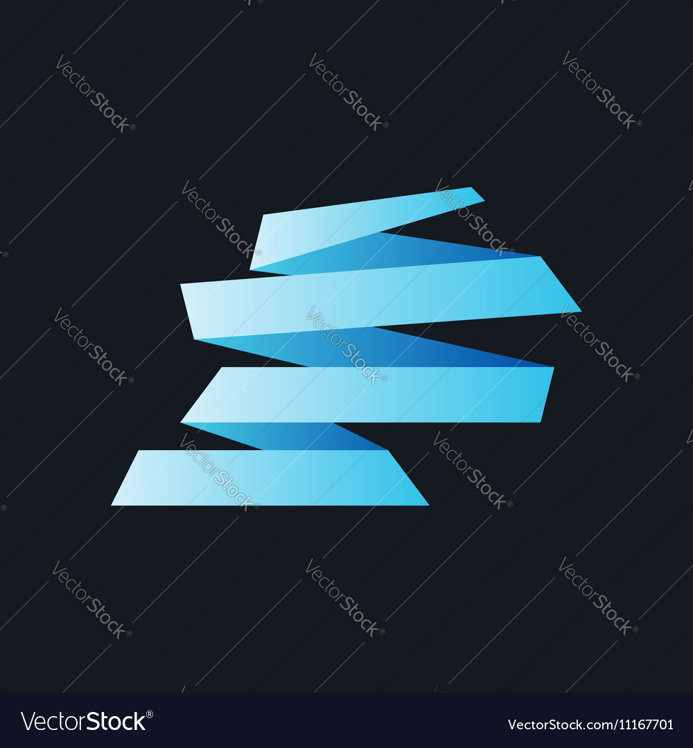 Blue Origami Paper Banners on Black vector image