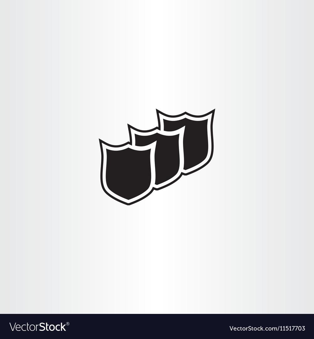 Black shield icon element vector image
