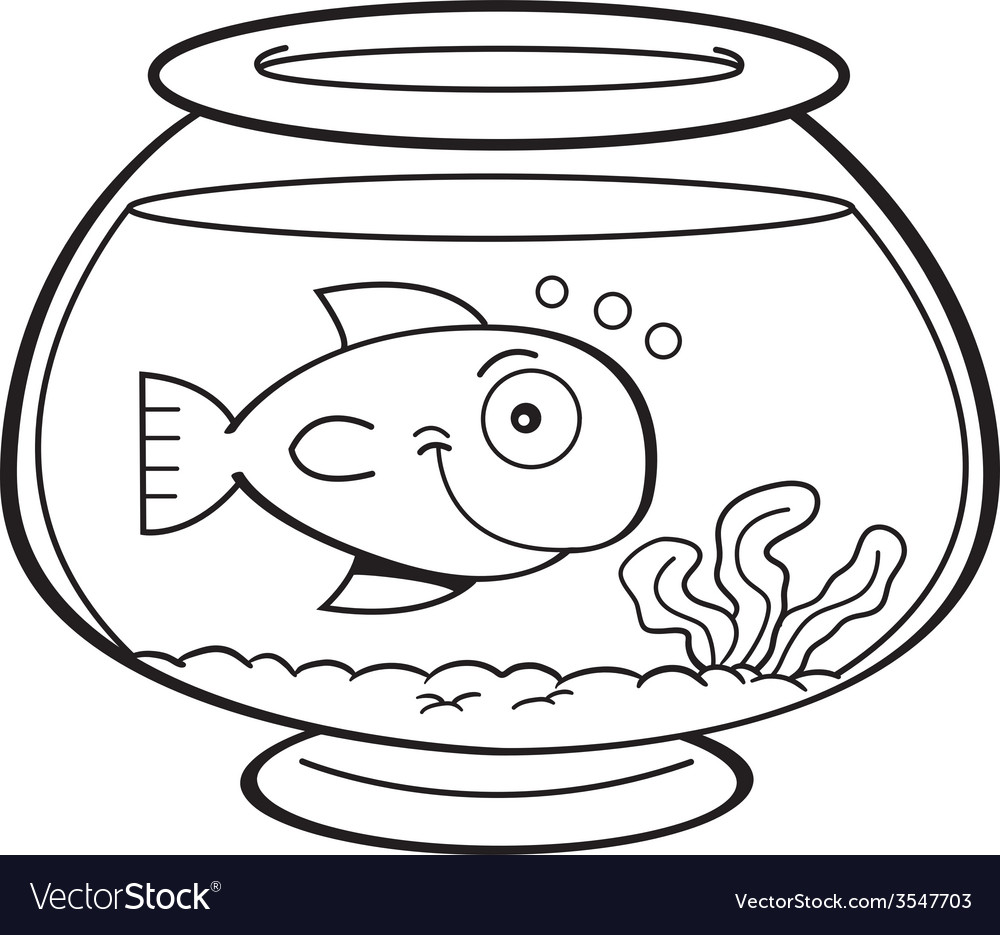 Cartoon goldfish bowl Royalty Free Vector Image