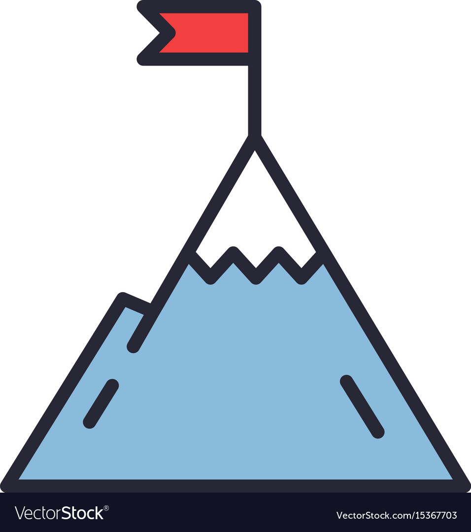 Mountain with flag on a peak leadership vector image