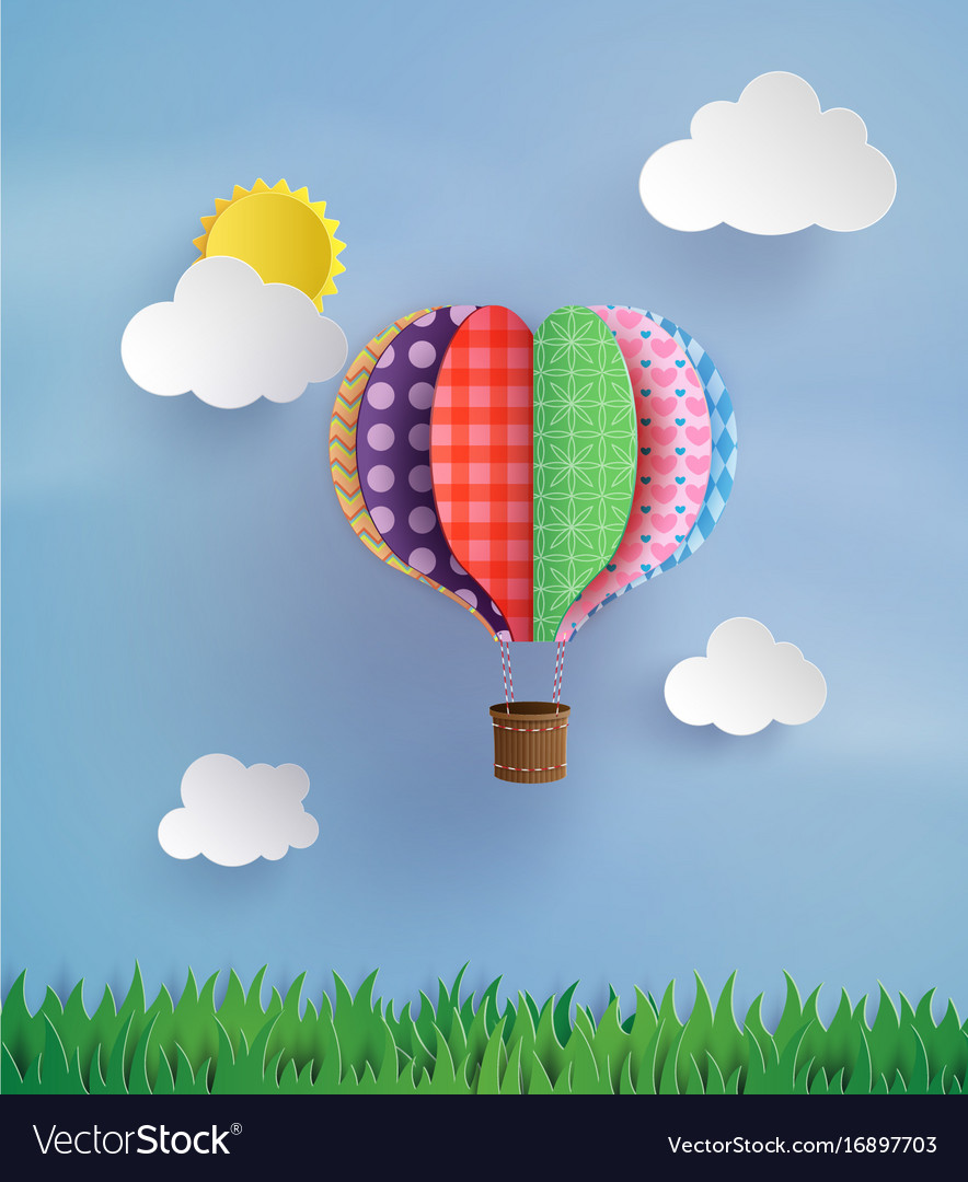Origami made hot air balloon and cloud royalty free vector origami made hot air balloon and cloud vector image jeuxipadfo Choice Image