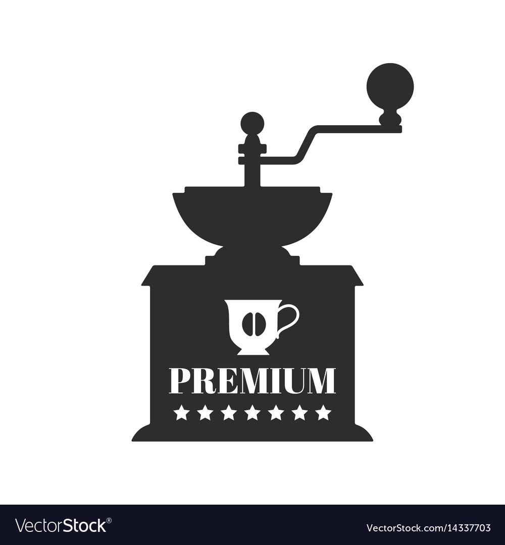 Vintage coffee grinder flat black silhouette vector image