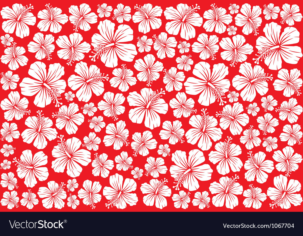 Seamless floral pattern whit hibiscus vector image