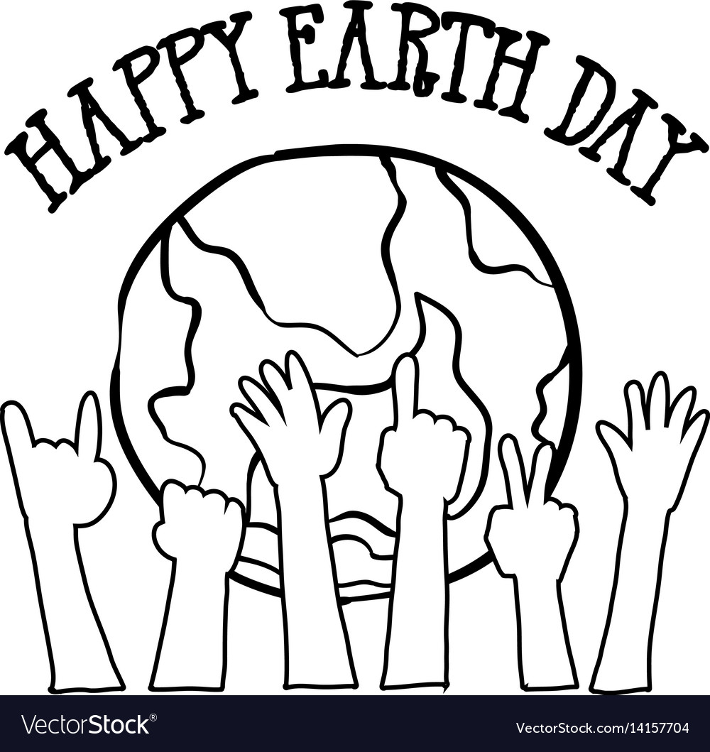 Collection of world hand draw earth day vector image