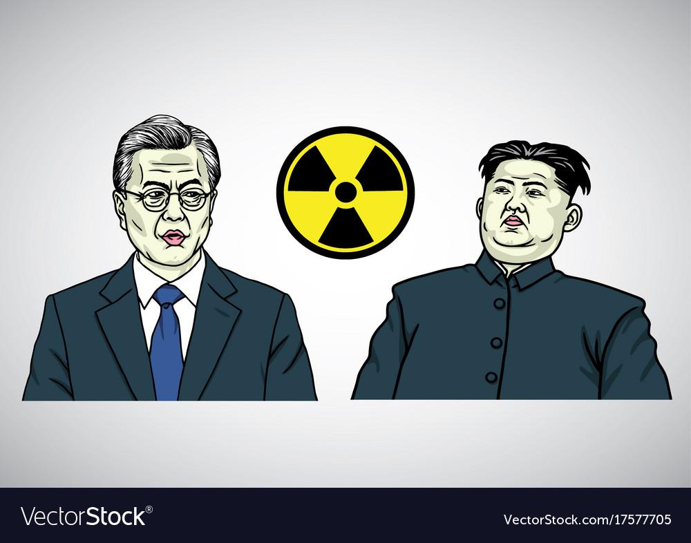 Moon jae in vs kim jong un caricature portrait vector image