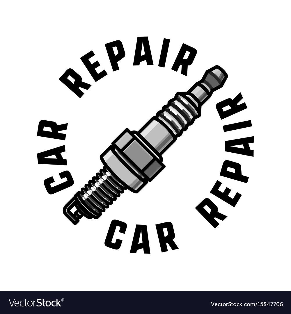 Color vintage car repair emblem vector image