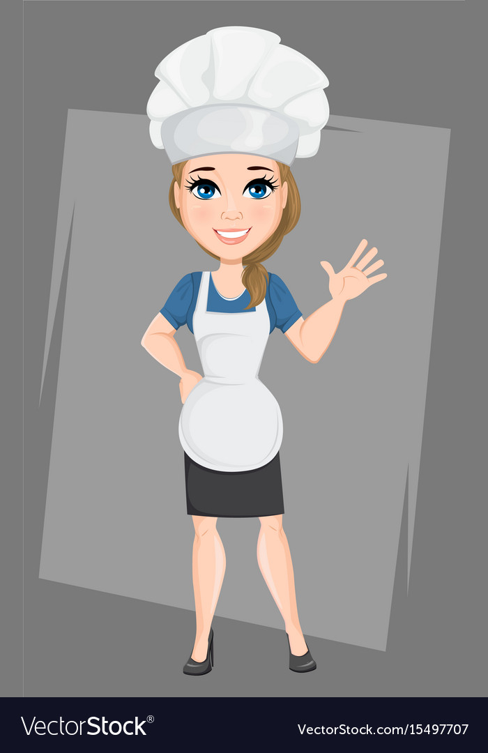 Chef woman making greeting gesture cute cartoon vector image