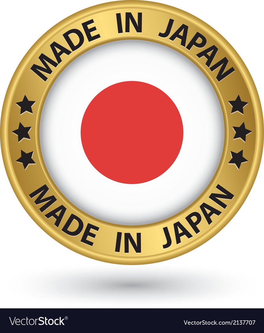 made in japan gold label with flag royalty free vector image