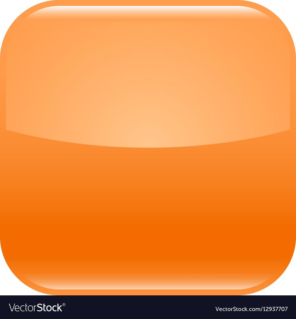 Orange glossy button blank icon square empty shape vector image