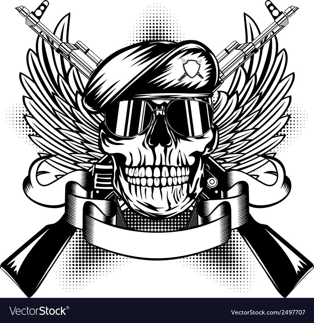 Skull in beret and two Kalashnikov guns vector image