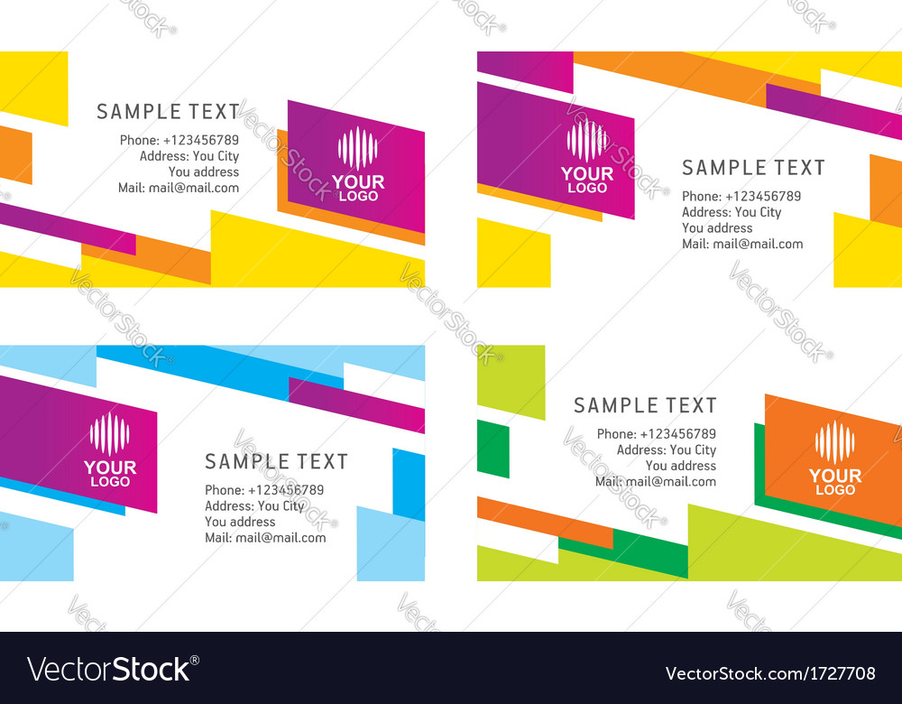 Abstract creative business card line colorful temp
