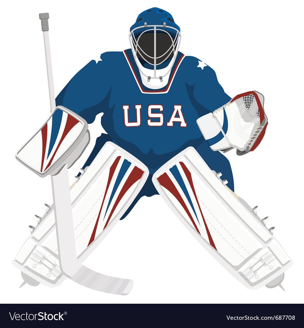 Team usa hockey goalie vector image