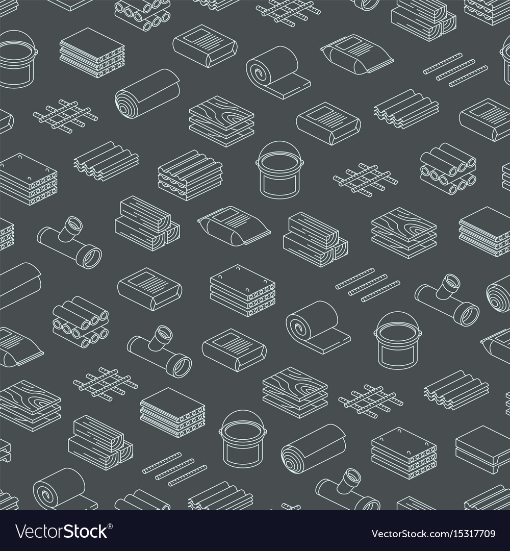 Building and contruction materials seamless vector image
