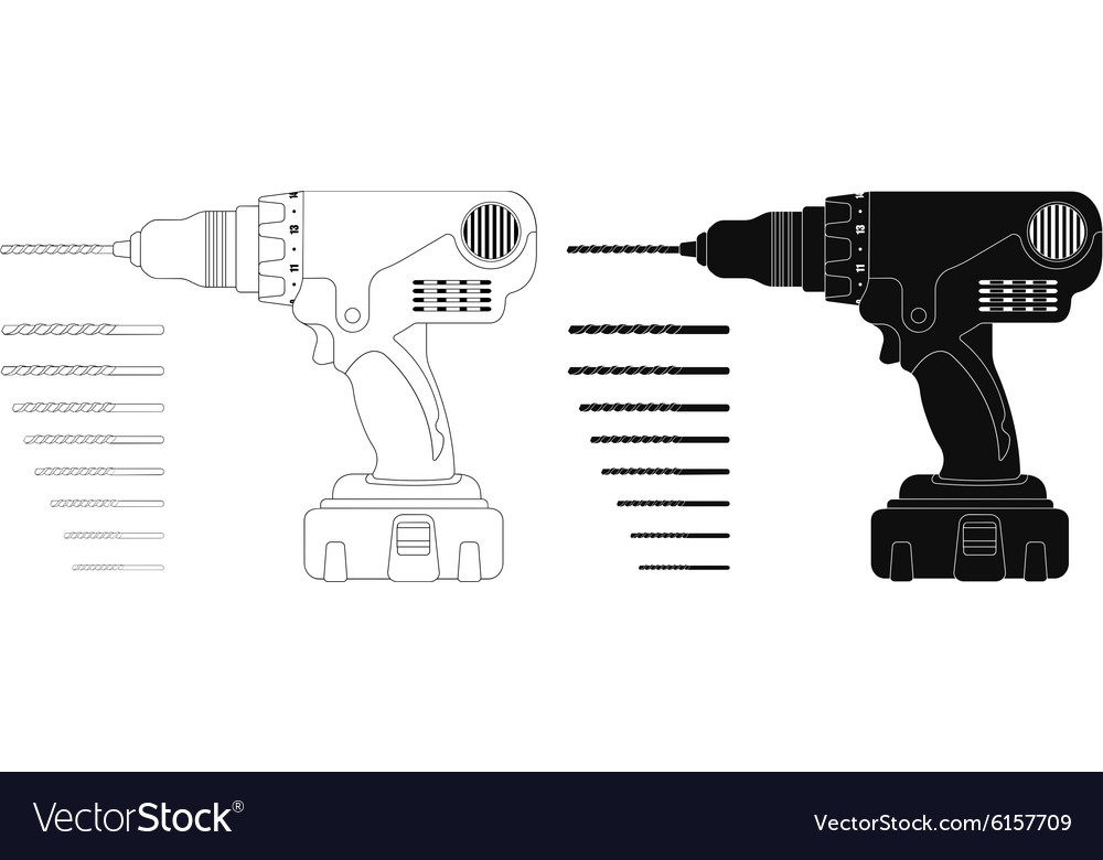 Electric cordless hand drill with bits Contour vector image
