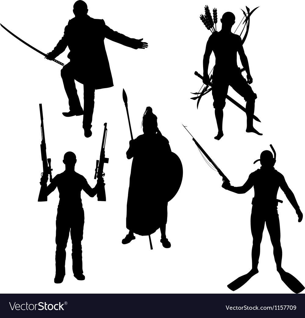 Silhouettes of warriors vector image