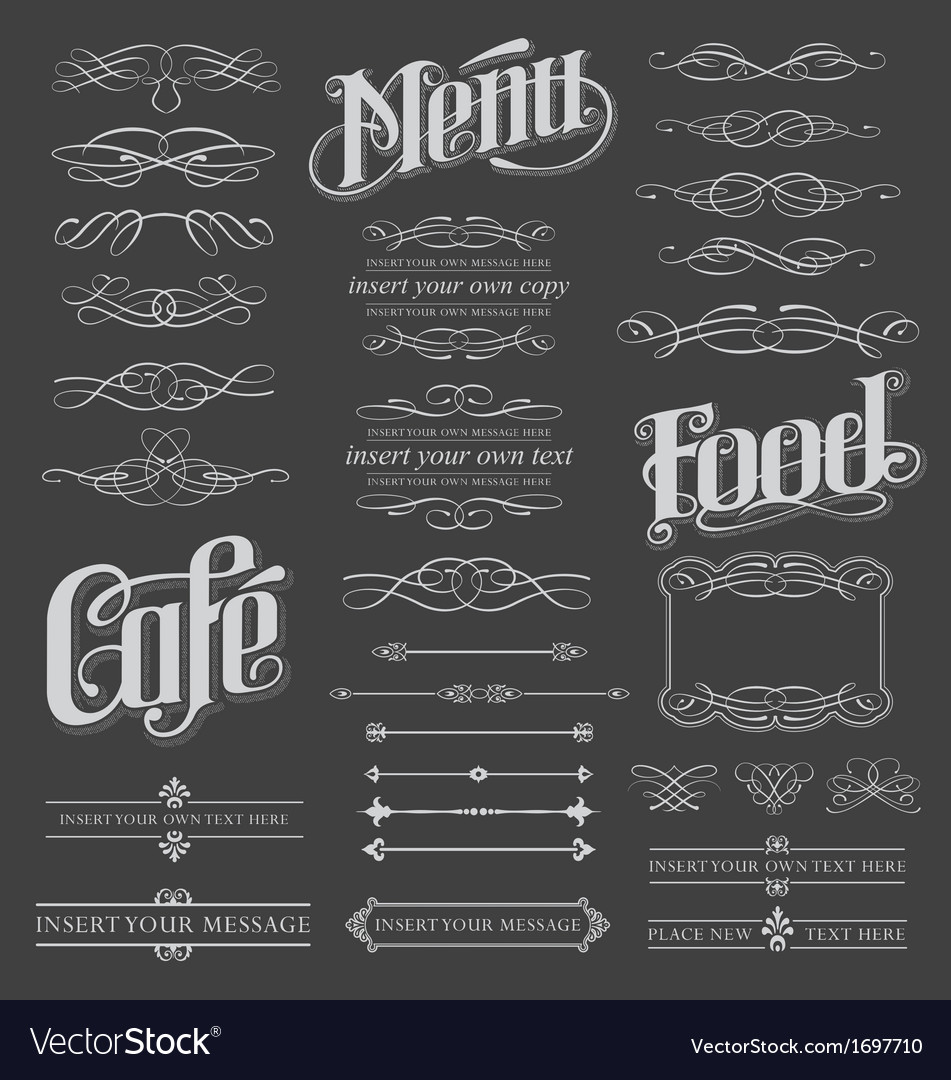 Calligraphy chalkboard design elements Vector Image