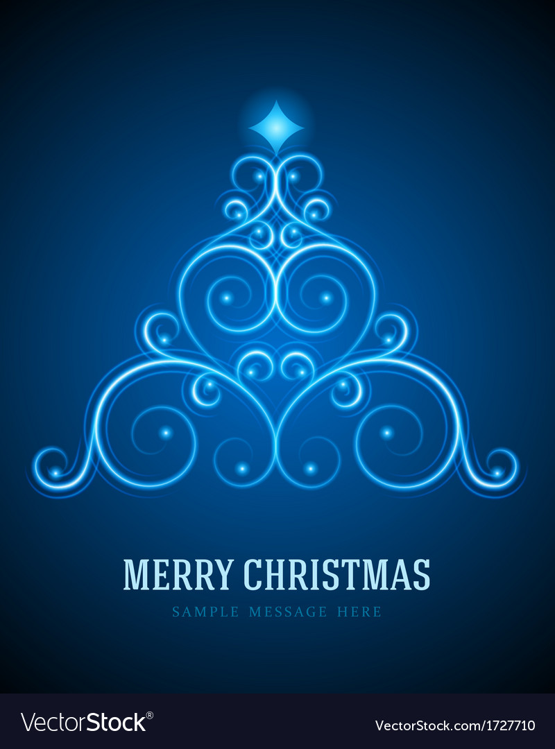 Christmas tree from flourishes calligraphic vector image