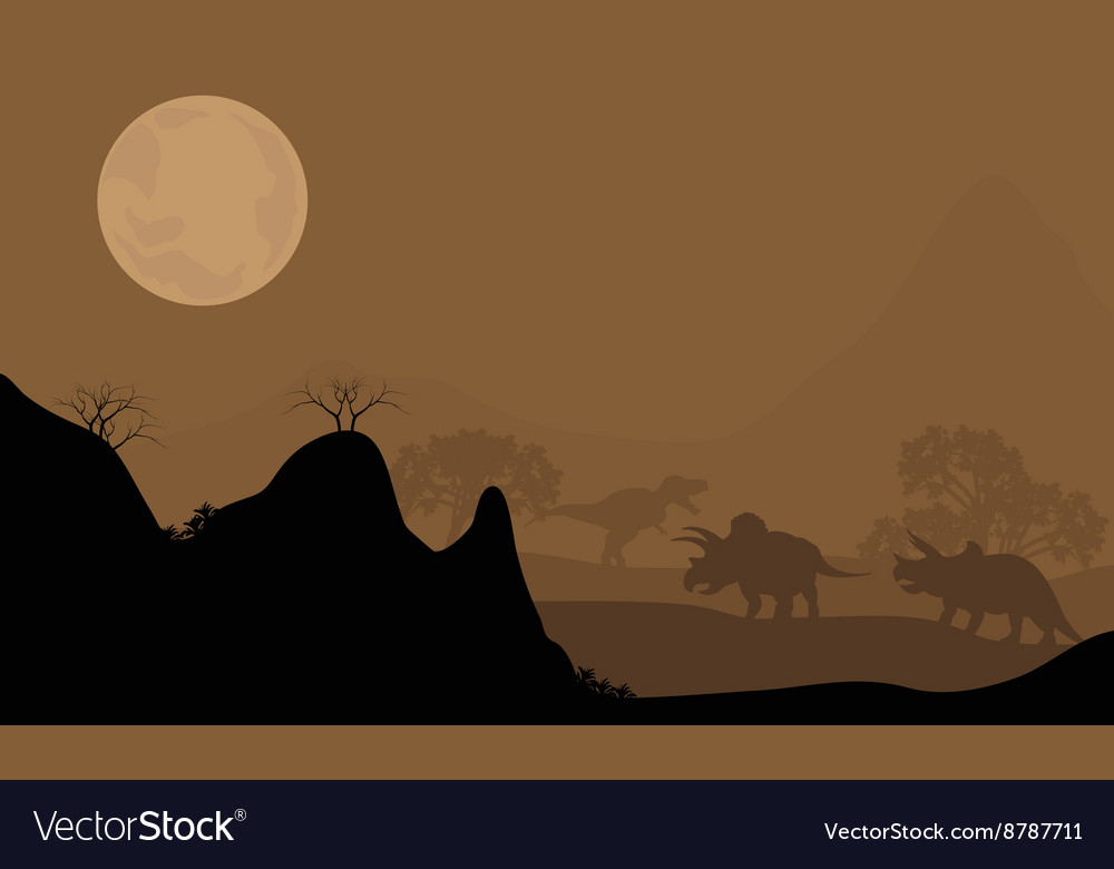 Silhouette of triceratops with moon at night vector image