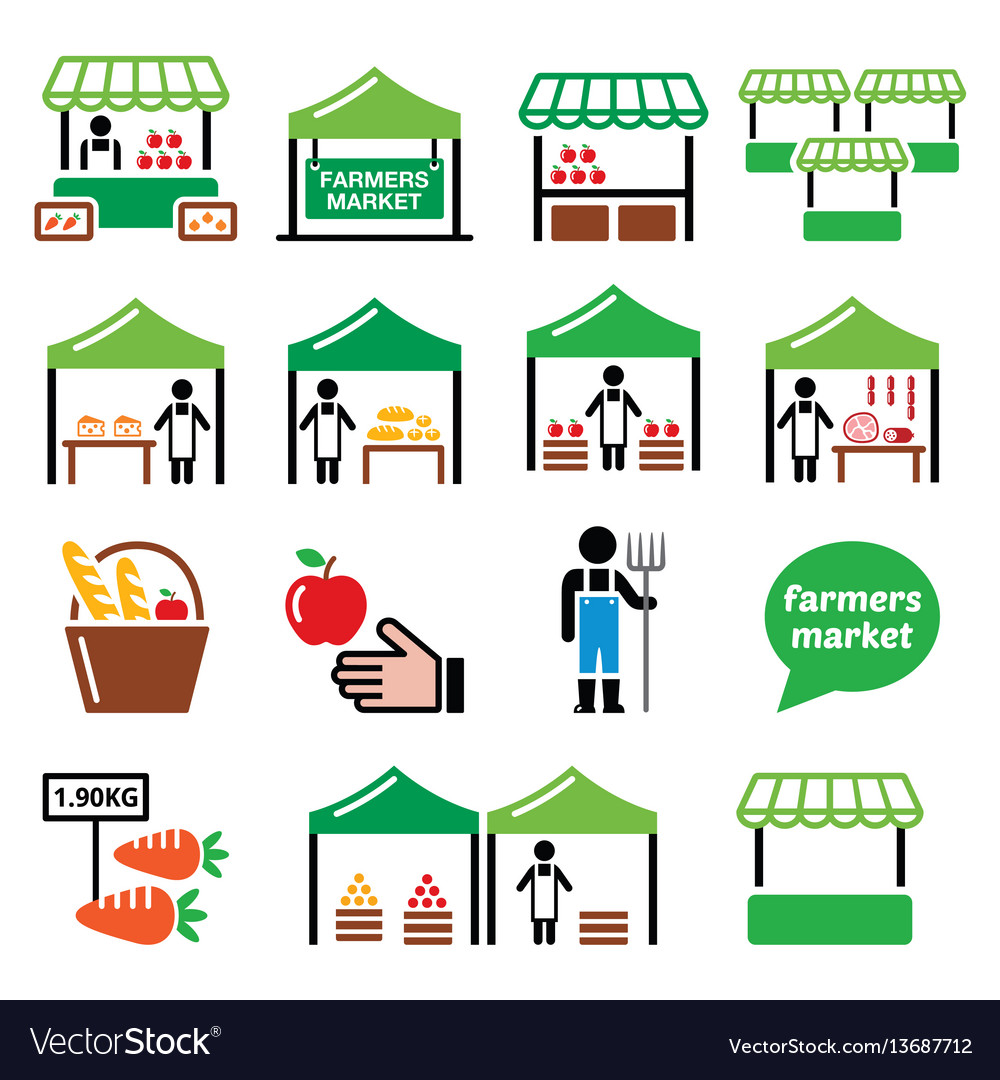 Farmers market food market icons set vector image
