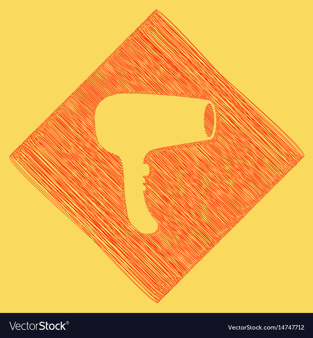 Hair dryer sign red scribble icon vector image