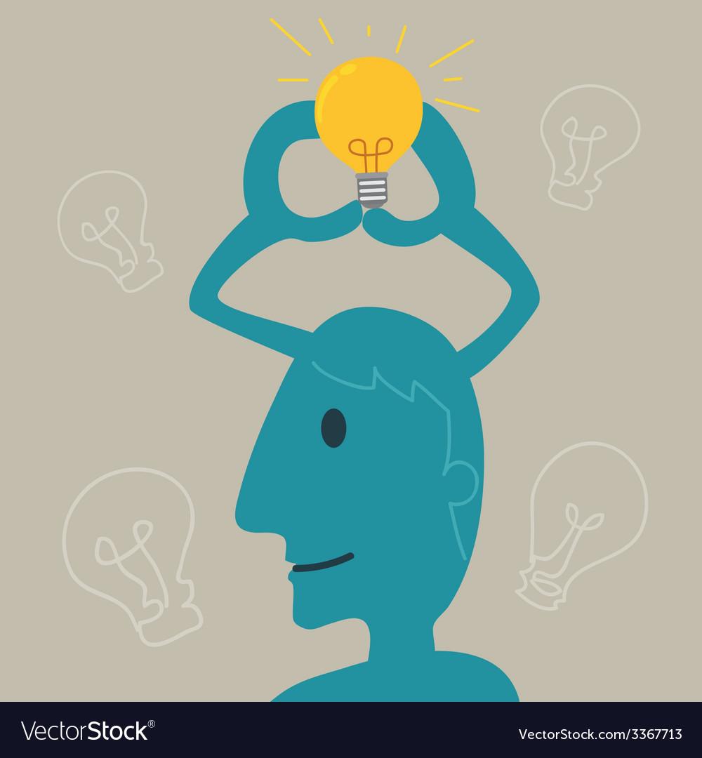 Blue Man Thinking vector image