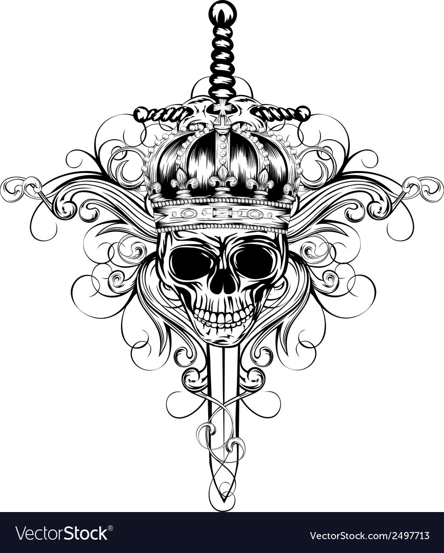 Skull in crown and sword vector image
