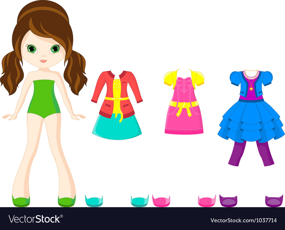 Paper doll with clothing Vector Image