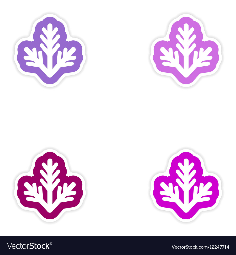 Set of paper stickers on white background fur-tree