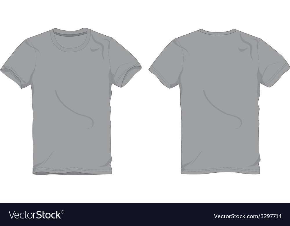 Men Gray Round Neck T-Shirt Template Royalty Free Vector